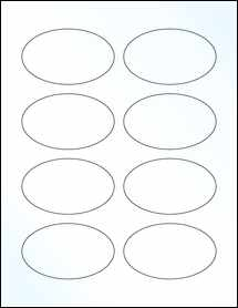 """Sheet of 3.33"""" x 2"""" Oval Clear Gloss Laser labels"""