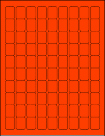 """Sheet of 0.75"""" x 1"""" Fluorescent Red labels"""