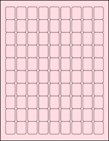 "Sheet of 0.75"" x 1"" Pastel Pink labels"