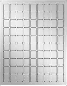"""Sheet of 0.75"""" x 1"""" Silver Foil Laser labels"""