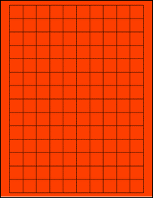 """Sheet of 0.75"""" x 0.75"""" Square Fluorescent Red labels"""