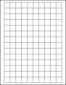 """Sheet of 0.75"""" x 0.75"""" Square Removable White Matte labels"""