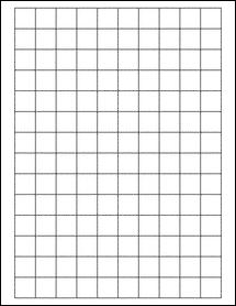 "Sheet of 0.75"" x 0.75"" Square Aggressive White Matte labels"