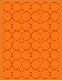 "Sheet of 1.25"" Circle Fluorescent Orange labels"