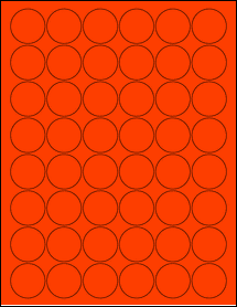 """Sheet of 1.25"""" Circle Fluorescent Red labels"""