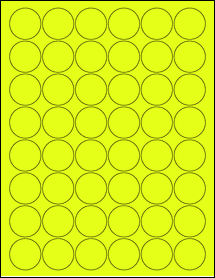 """Sheet of 1.25"""" Circle Fluorescent Yellow labels"""