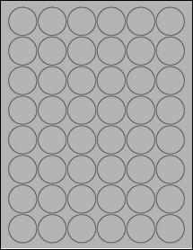 "Sheet of 1.25"" Circle True Gray labels"
