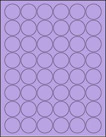 "Sheet of 1.25"" Circle True Purple labels"