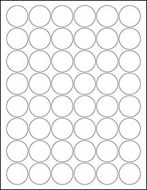 "Sheet of 1.25"" Circle Aggressive White Matte labels"