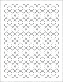 """Sheet of 1.375"""" x 0.5"""" Removable White Matte labels"""