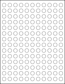 "Sheet of 0.5"" Circle Weatherproof Matte Inkjet labels"