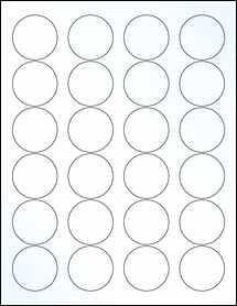 "Sheet of 1.67"" Circle Clear Gloss Inkjet labels"