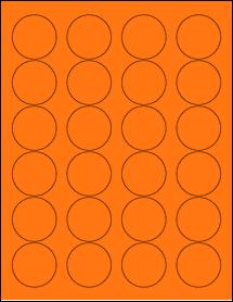 "Sheet of 1.67"" Circle Fluorescent Orange labels"