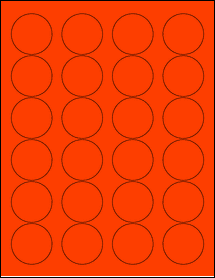 """Sheet of 1.67"""" Circle Fluorescent Red labels"""