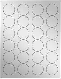 "Sheet of 1.67"" Circle Silver Foil Inkjet labels"