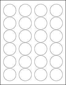"Sheet of 1.67"" Circle Weatherproof Matte Inkjet labels"