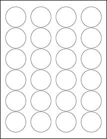 """Sheet of 1.67"""" Circle Removable White Matte labels"""