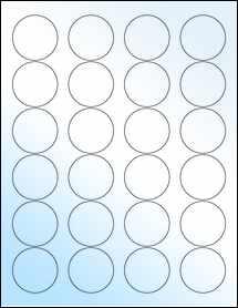 "Sheet of 1.67"" Circle White Gloss Laser labels"