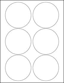 "Sheet of 3.5"" Circle Weatherproof Polyester Laser labels"