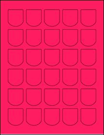 "Sheet of 1.25"" x 1.375"" Fluorescent Pink labels"