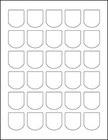 """Sheet of 1.25"""" x 1.375"""" Weatherproof Matte Inkjet labels"""