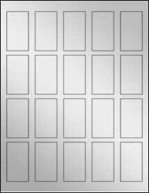 """Sheet of 1.25"""" x 2.25"""" Silver Foil Inkjet labels"""