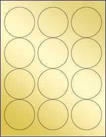 """Sheet of 2.5"""" Circle Gold Foil Laser labels"""