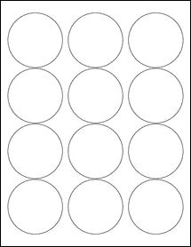 "Sheet of 2.5"" Circle Weatherproof Polyester Laser labels"
