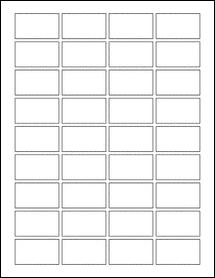 "Sheet of 1.75"" x 1"" Standard White Matte labels"