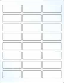 """Sheet of 2.5"""" x 1"""" Clear Gloss Laser labels"""