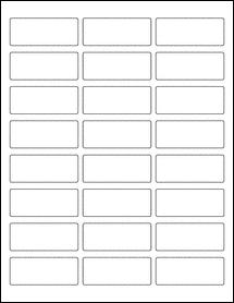 "Sheet of 2.5"" x 1"" Standard White Matte labels"