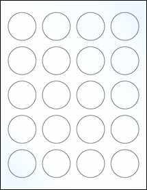 "Sheet of 1.625"" Circle Clear Gloss Inkjet labels"
