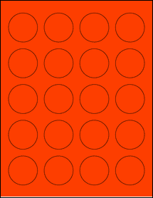 """Sheet of 1.625"""" Circle Fluorescent Red labels"""