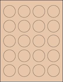 "Sheet of 1.625"" Circle Light Tan labels"