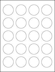 """Sheet of 1.625"""" Circle Removable White Matte labels"""