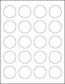 "Sheet of 1.625"" Circle Standard White Matte labels"