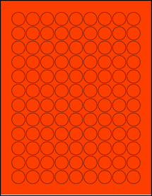 """Sheet of 0.75"""" Circle Fluorescent Red labels"""