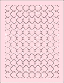"""Sheet of 0.75"""" Circle Pastel Pink labels"""