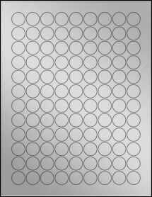"Sheet of 0.75"" Circle Weatherproof Silver Polyester Laser labels"