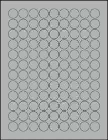 "Sheet of 0.75"" Circle True Gray labels"