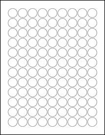 """Sheet of 0.75"""" Circle Weatherproof Gloss Inkjet labels"""