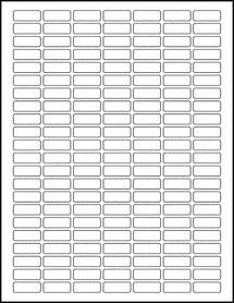 "Sheet of 1"" x 0.375"" Aggressive White Matte labels"