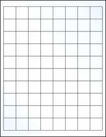 "Sheet of 1"" x 1"" Clear Gloss Inkjet labels"