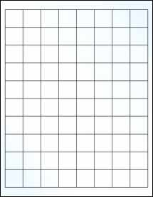 """Sheet of 1"""" x 1"""" Clear Gloss Laser labels"""