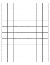 """Sheet of 1"""" x 1"""" Removable White Matte labels"""