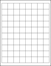 "Sheet of 1"" x 1"" Standard White Matte labels"