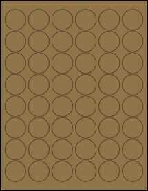 """Sheet of 1.2"""" Circle Brown Kraft labels"""