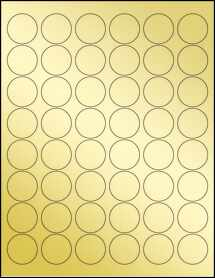 """Sheet of 1.2"""" Circle Gold Foil Inkjet labels"""