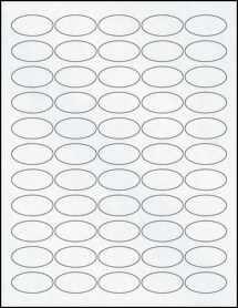 "Sheet of 1.5"" x 0.75"" Oval Clear Matte Laser labels"