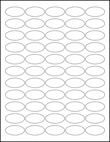 """Sheet of 1.5"""" x 0.75"""" Oval Removable White Matte labels"""